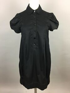 Women's ZARA Black Short Sleeve Shiny Shirt Dress. UK M | eBay