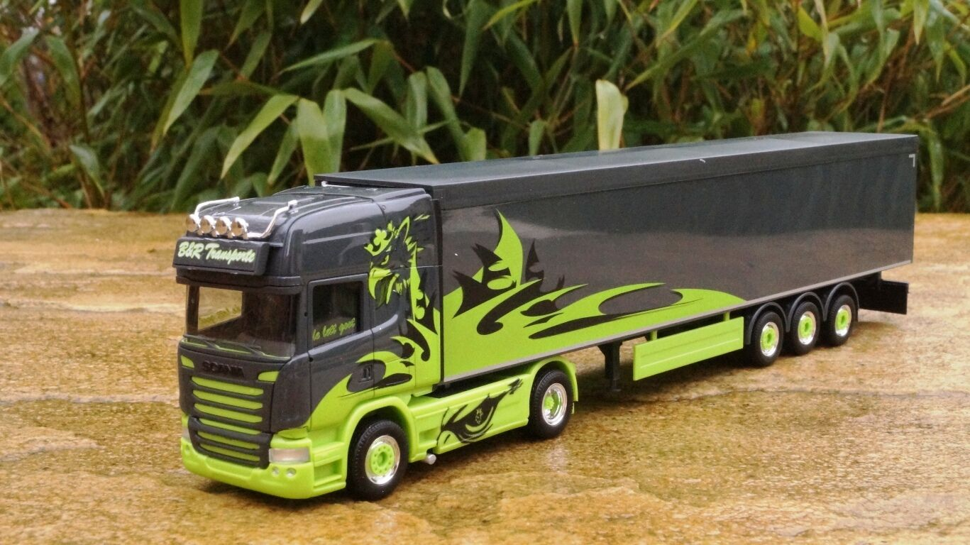 Herpa Scania R cisaillement Sol-Semi-remorque Sol-Semi-remorque Sol-Semi-remorque  Poison Arrow b&r transport 305310 neuf dans sa boîte 1de56f