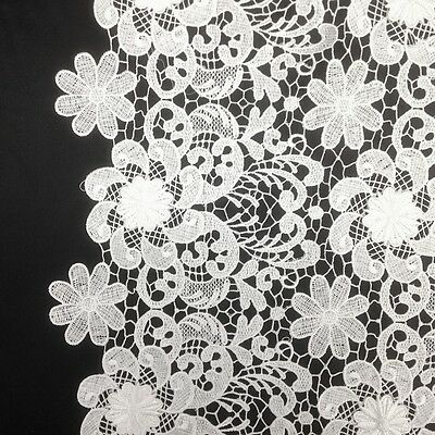 "Lily Floral Guipure Corded French Lace Embroidery Fabric 52"" wide Many Colors"