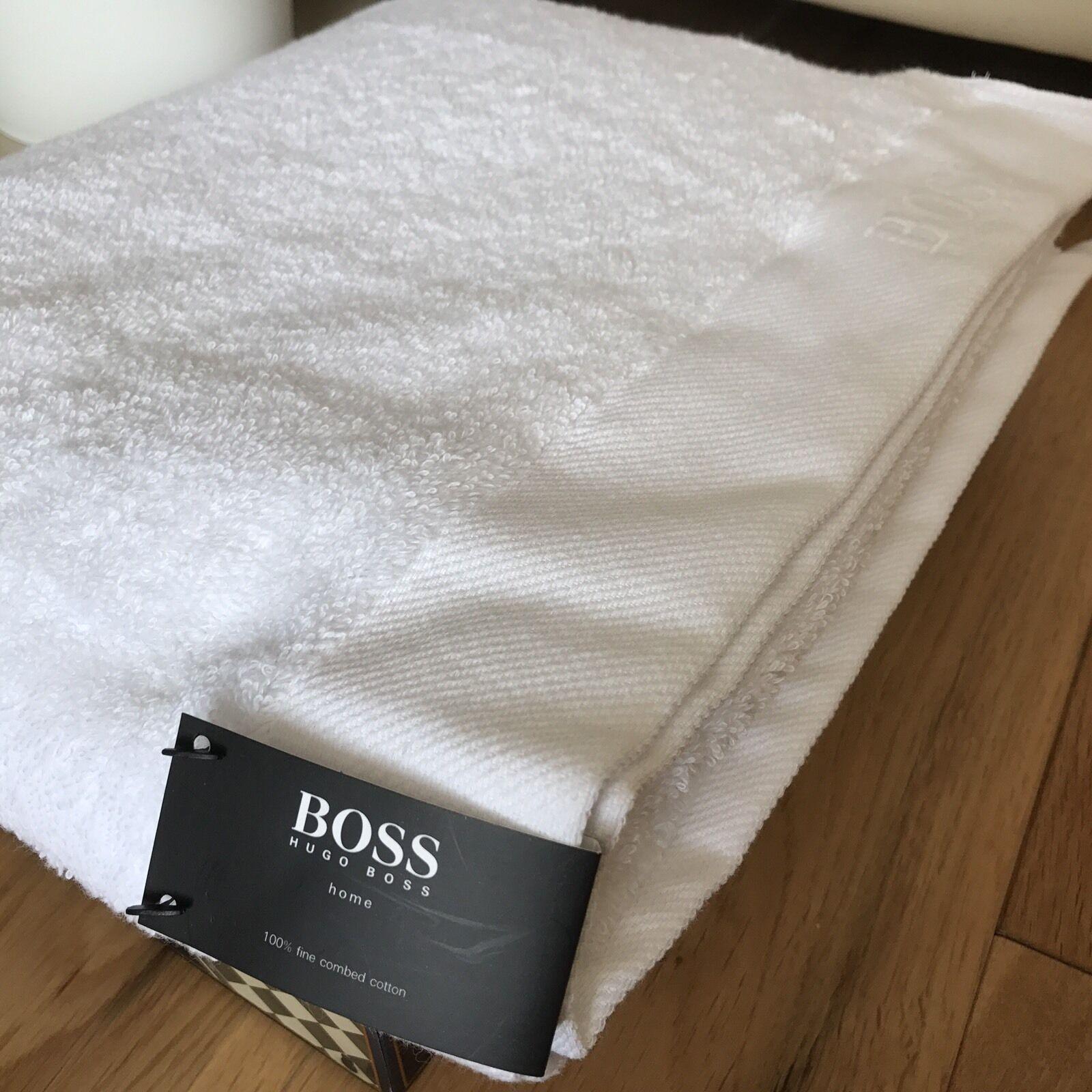 Hugo BOSS BOSS BOSS Bianco Cotone Asciugamano da bagno con logo ricamato 73X137cm 61e5fc