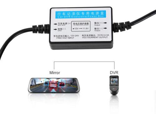 Junsun DC 12//24V 5V 3A 3M Mini USB Hardwire Kit for Car Dash Cam Reaview Mirror