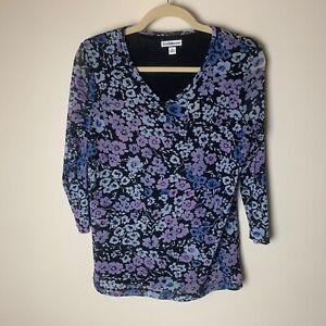 Croft & Barrow Women's Top Size Medium 3/4 Sleeves Floral Casual Black Blue