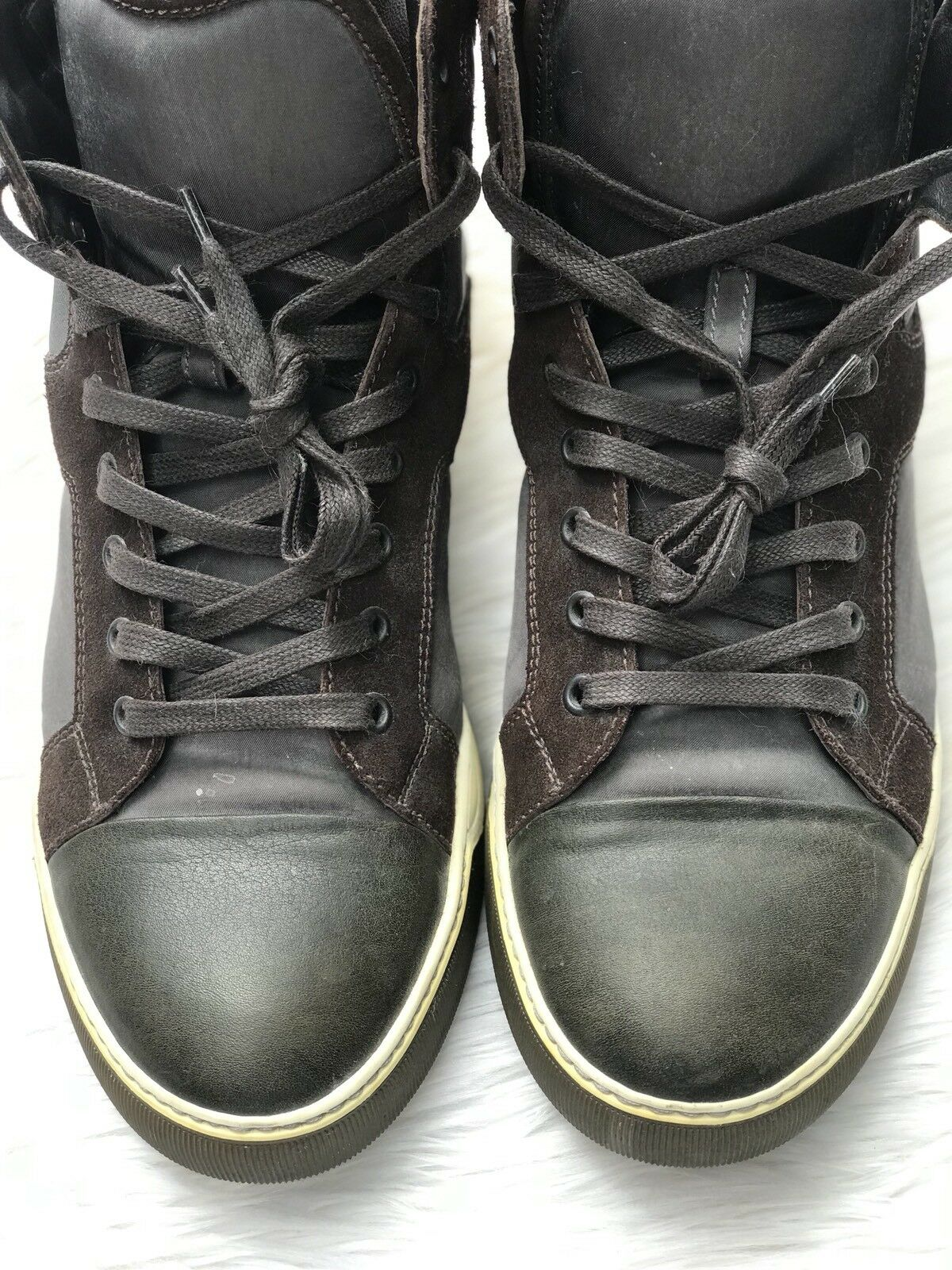 Lanvin mixed-media high-top sneaker shoe in Black  bluee  Brown Size 9