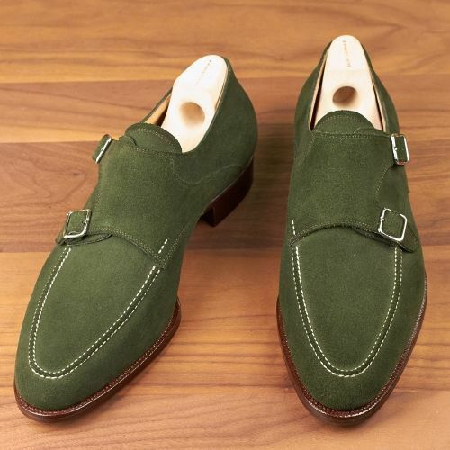 Mens Handmade Green Suede Leather Casual shoes Leather Sole and Heel shoes
