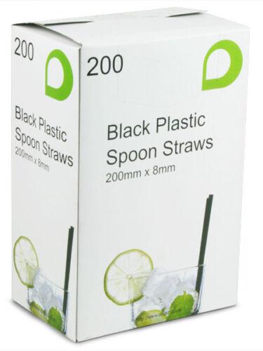Milkshakes 5,000 Black Spoon Drinking Straws 200mm x 8mm Smoothies Slushies