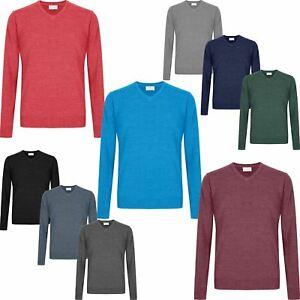 Mens-V-Neck-Jumper-Ex-Store-Soft-Knit-New-Sweater-Pullover-M-L-XL-2XL-3XL-4XL
