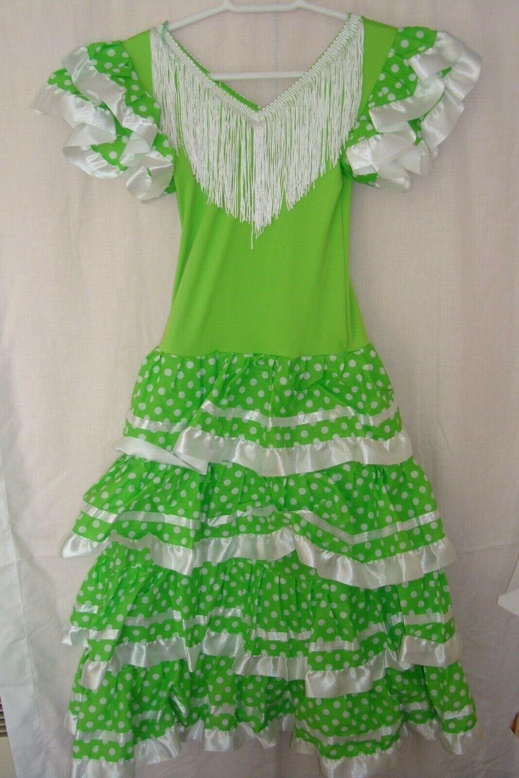 New Girls Beautiful Spanish Flamenco Dance Dress Green /White 12yrs