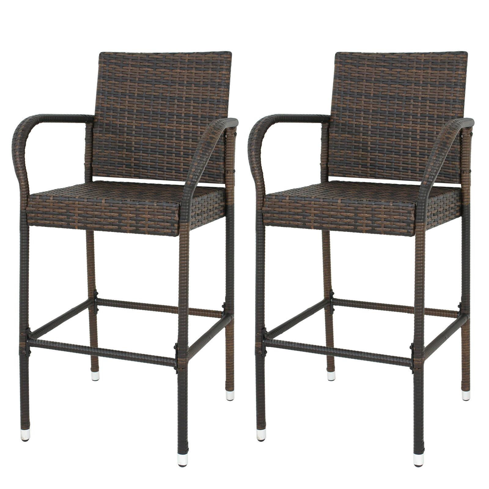 Set Of 2 Wicker Bar Chair W/ Adjustable Cool Bar Ice Bucket Backyard Outdoor Home & Garden