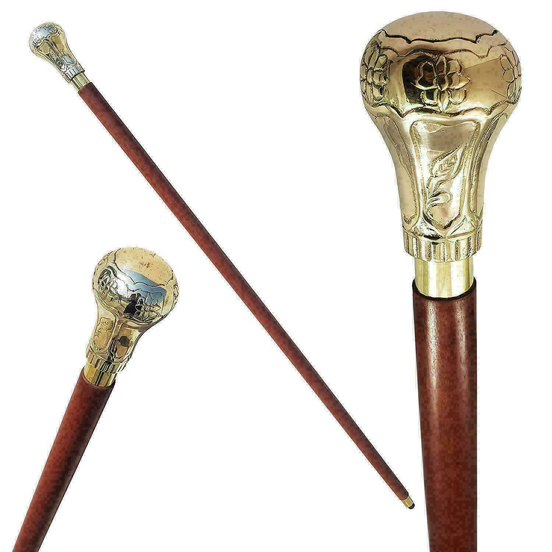 Edwardian Brass Knob Ball Head Handle Wooden Walking Stick Cane Handmade Gift