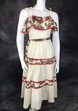 VTG 1970s Young Edwardian Dress Romantic Boho Cream & Calico Prairie Sundress S