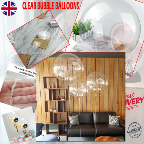 CLEAR SEE THROUGH Bubble BALLOON 18//26// 36 CM Large Helium Quality Wedding UK