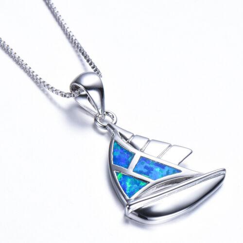 Handmade Jewelry Sailboat shape Blue Fire Opal Gem Solid Silver Necklace Pendant
