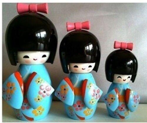 Japanese Geisha wooden Kokeshi cute girl doll 3pcs Blue {Valentine