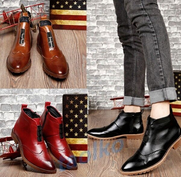 Hot Men's Brogue Carved Wing Tip Ankle Boots Casual High Top Side Zip shoes