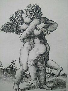 Rare gravure A. Lafrery Amours Putti Angelots d'après Raphael Sarazin A. Lafreri