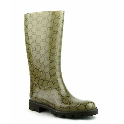 Gucci Women's Light Brown Rubber Rain Boots with Guccissima Pattern 248516 8367