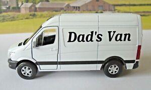 PERSONALISED Dad's Van White Mercedes Sprinter Van Boys Toy Model Present Boxed