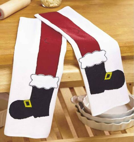 Set//2 Santa Boot Legs Holiday Tea Kitchen Dish Cloth Towels 14x22 Waffle NIP