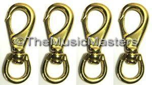 "Sporting Goods 4x Brass 4 1/2"" Swivel Eye Snap Spring Hook Boat Marine Rope Dock Line Connector Boat Parts"