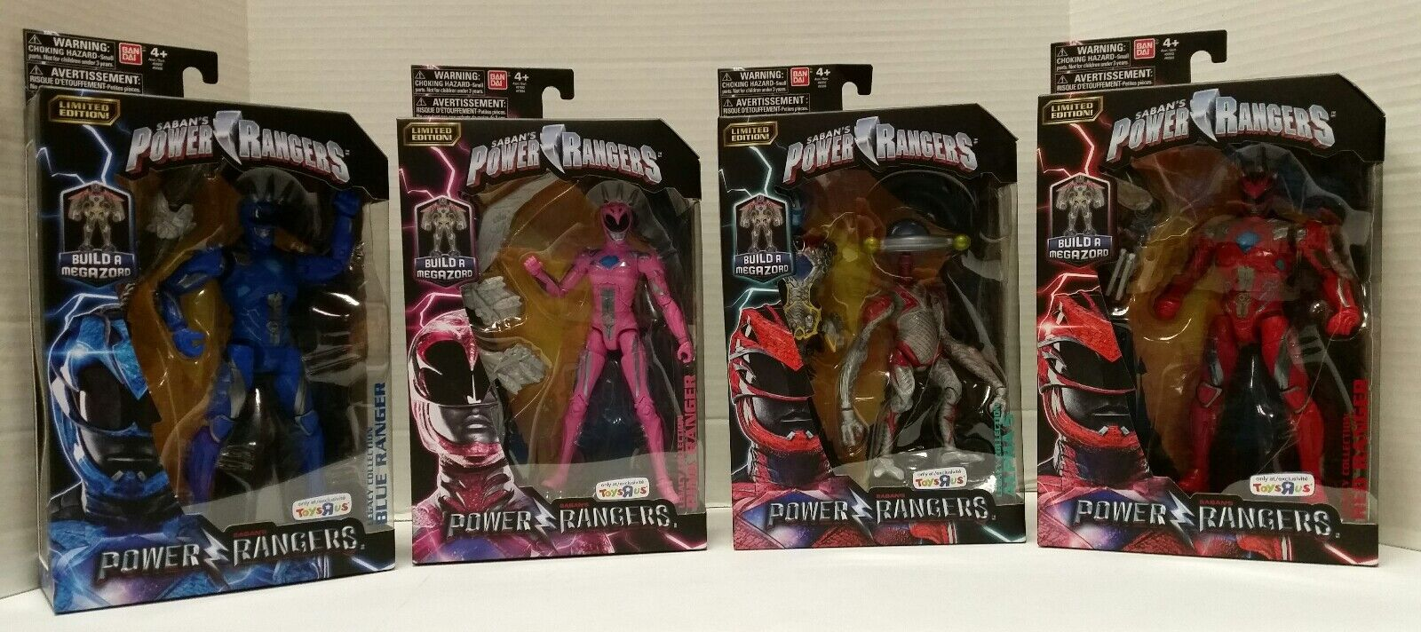 Power Rangers Legacy Collection Blau Rosa ROT ALPHA 5  RANGER Toys R Us LOT BAF