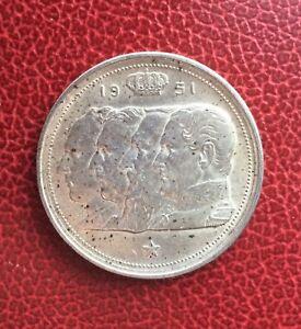 Belgique-Baudouin-100-Francs-1951-VL-variete-avec-point-pres-couronne