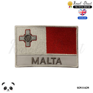MALTA-National-Flag-With-Name-Embroidered-Iron-On-Sew-On-Patch-Badge