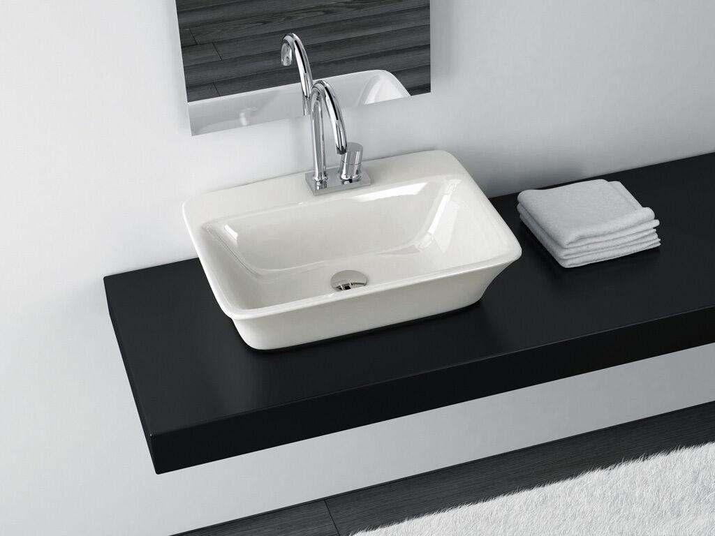 Lavandino Lavabo Appoggio Sospeso Design Moderno Cow in Ceramica 60x45x16