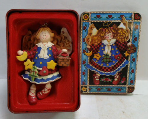 Grandeur Noel Angel Resin Christmas Holiday Ornament With Gift Tin Box