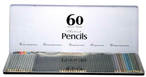 60 Premium Artists Pencils In Tin Case Educational Toys Books colouring NEW