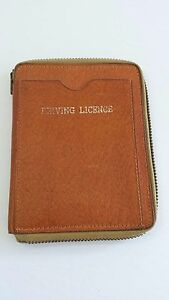 Vintage-Leather-Wallet-Driving-Licence-Stamps-Zipper-Closure-Made-in-Canada
