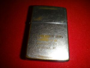 Vintage-Year-1964-Zippo-Lighter-POULAIN-CHAIN-SAWS-Ashcraft-Co-Louisville-KY