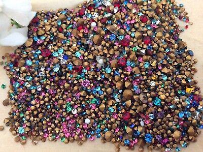 Swarovski #1012 Vintage Rhinestones Crystal AB Gold Foiled REPAIR Size option