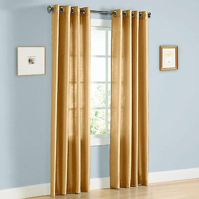 "2  PANELS GOLD FAUX SILK 8 GROMMET WINDOW  CURTAIN DRAPES 95"" LENGTH"