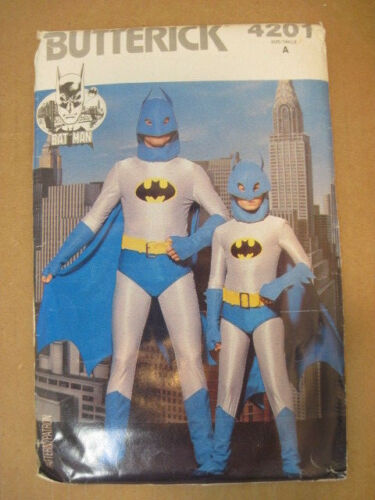 OLD BUTTERICK BAT-MAN HALLOWEEN COSTUME SEWING PATTERNS