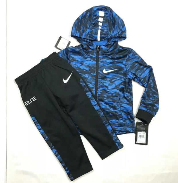 NEW Boys 2piece Set Size 3T Hooded Zip Jacket Pants Outfit Blue Black Basketball