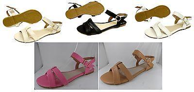 Señoras para mujer planas gladiador Tira al Tobillo Zapatos Sandalias Flip Flop Verano Puntera abierta