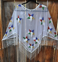 Art To Wear Oes Order Of Eastern Star Hand Beaded Evening Poncho Top, Os,