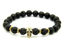 Cráneo con cuentas 8MM oro granos de piedra de lava Cráneo Para Hombre/Damas Pulsera