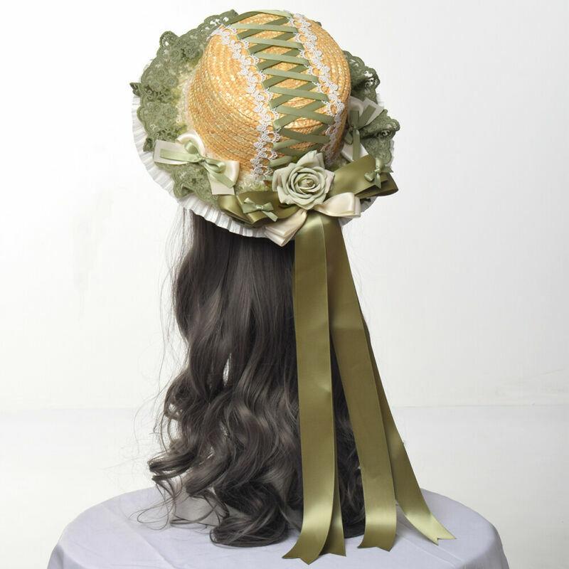 Lolita Niñas Sombrero De Paja Sombrero de sombrero de fiesta de boda de playa de verano largo Moño Floral