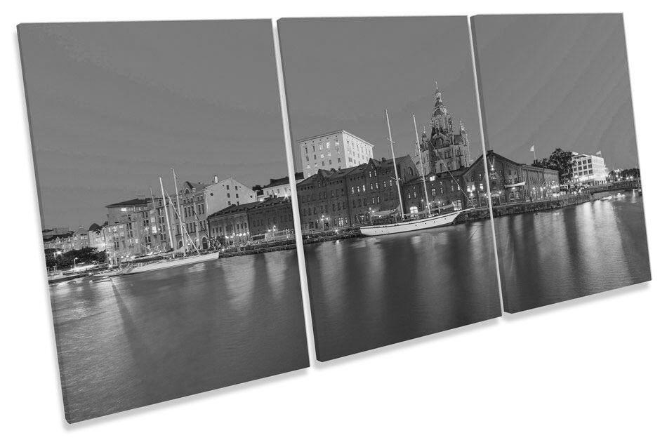 Helsinki Finland City Skyline B&W  CANVAS WALL ART TREBLE Print Picture