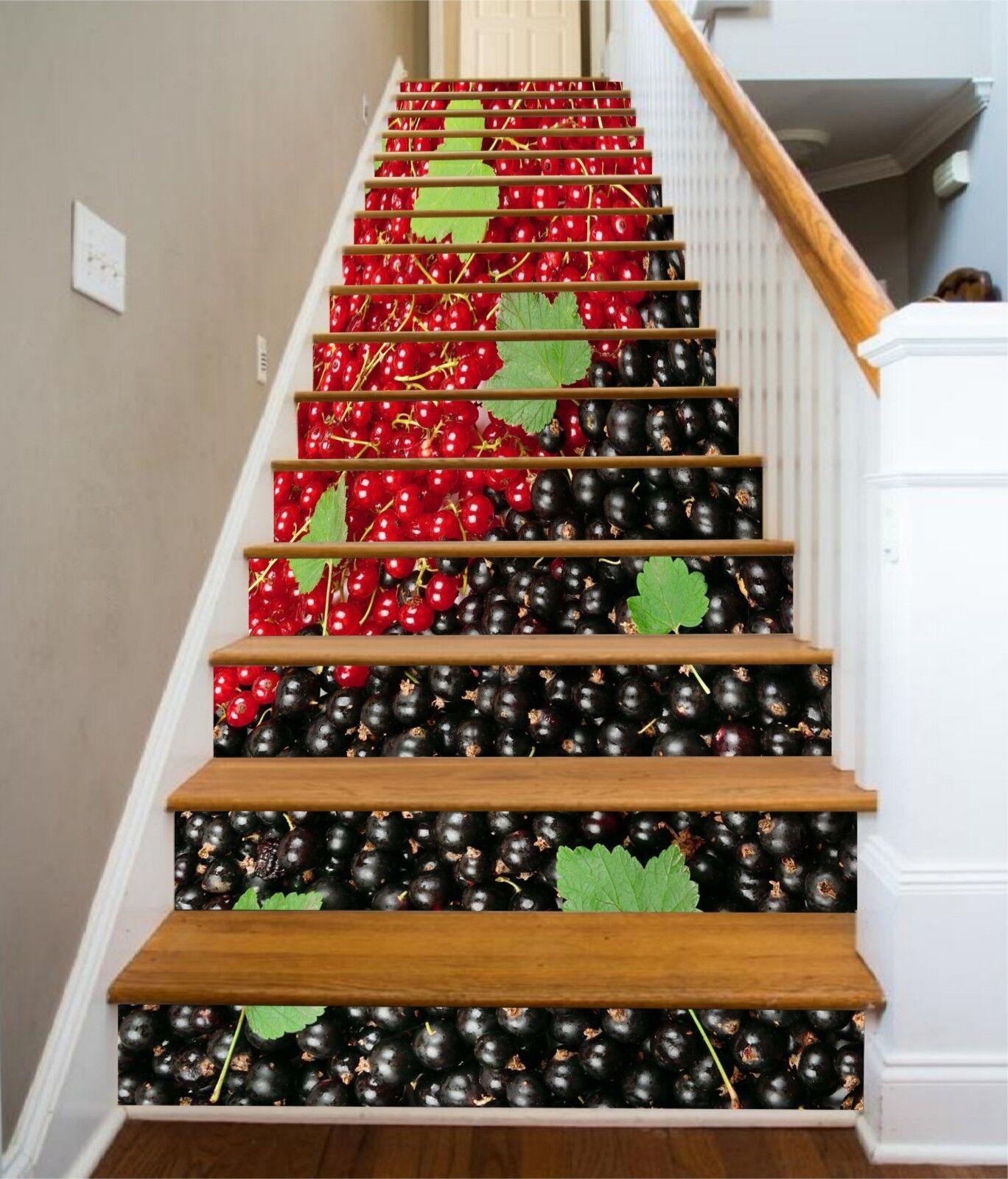 3D Cherry Blauberry Stair Risers Decoration Photo Mural Vinyl Decal Wallpaper UK