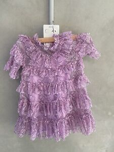 Alice McCall X Cotton On Short Sleeve ruffle Girls Dress Sz 3 Violet Bnwt (g63)