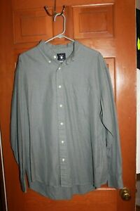Ivy-Crew-Men-039-s-XL-17-34-Long-Sleeve-Button-Front-Shirt-Green-Gray-Cotton-EUC