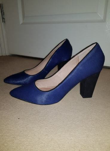 Womens NEXT Navy bluee Leather Pointed Textured Heels shoes Size 6.5