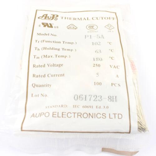 5Pcs Aupo Thermal Fuse Cutoff Tf 102℃ 250V 5A P1-5A