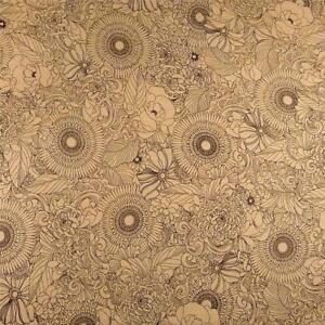 Brown Black  by Kaufman; Cotton Fabric Japanese Geishas Metallic Silver