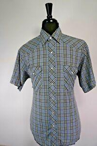 Wrangler-Men-039-s-Plaid-Snap-Button-Up-Western-Shirt-Size-LARGE-L-SHORT-SLEEVE