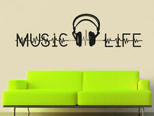 Wall Decal Vinyl Sticker Sign Music is Life Notes Headphones Pulse Bedroom r1013
