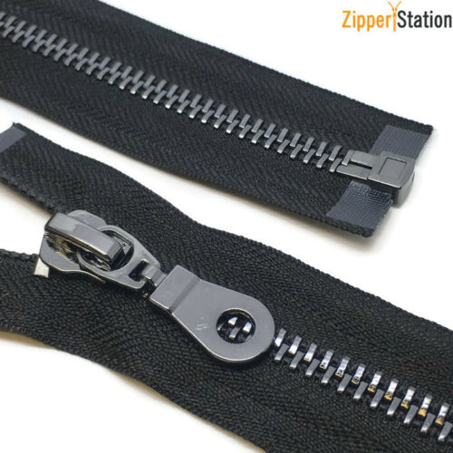 Gun Metal #8 Heavy Duty Metal Zips Black GM8OE Open end Zipper