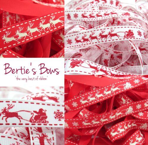 BERTIES ARCOS Santa/'s Trineo Navidad Cinta 2 Colores-Reno Multi guardar